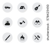 set of 9 editable travel icons. ... | Shutterstock .eps vector #578425450