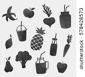 vector healthy food icons... | Shutterstock .eps vector #578428573