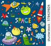 vector set with cartoon aliens... | Shutterstock .eps vector #578429824