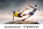 soccer player outdoors . mixed... | Shutterstock . vector #578480140