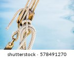 pulley with ropes of a classic... | Shutterstock . vector #578491270