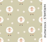 seamless pattern with cute... | Shutterstock .eps vector #578493694