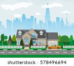 private suburban house with car ... | Shutterstock .eps vector #578496694