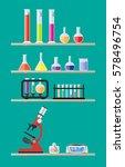 laboratory equipment on shelves