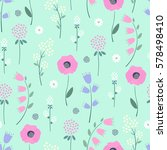 Floral Pattern On Mint Green...