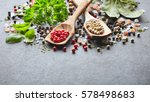 spices and herbs on a graphite... | Shutterstock . vector #578498683