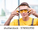 young construction worker in... | Shutterstock . vector #578501950