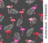 watercolor flamingo seamless... | Shutterstock .eps vector #578504650
