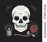 hipster day of the dead skull... | Shutterstock .eps vector #578511526