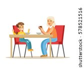 grandmother having breakfast...   Shutterstock .eps vector #578521516