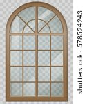 Classic Arched Window Of Wood...