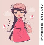 girl hand drawn vector... | Shutterstock .eps vector #578524750