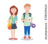 schoolboy and schoolgirl.... | Shutterstock .eps vector #578539414