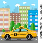 urban cityscape with taxi cab.... | Shutterstock . vector #578539933