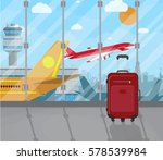 travel suitcases inside of... | Shutterstock . vector #578539984