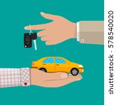 hand with yellow car and keys.... | Shutterstock . vector #578540020