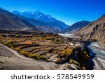 view of kagbeni from the road... | Shutterstock . vector #578549959