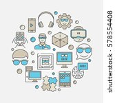 geek circular colorful sign.... | Shutterstock .eps vector #578554408