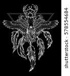 sacral tattoo  wild deer with... | Shutterstock .eps vector #578554684
