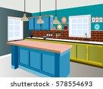 kitchen  kitchen interior with... | Shutterstock .eps vector #578554693