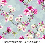 Stock vector pattern with spring flowers with branch on grey background with flower silhouette 578555344