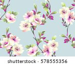 Stock vector pattern with spring flowers on grey background 578555356