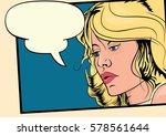 blond girl in retro style comic ... | Shutterstock .eps vector #578561644
