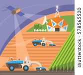 agribots machines working in... | Shutterstock .eps vector #578565520