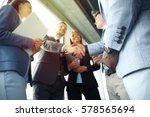 business people shaking hands ... | Shutterstock . vector #578565694
