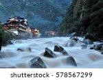 aguas calientes in machu picchu ...   Shutterstock . vector #578567299