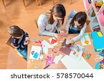 teacher with kids   creative... | Shutterstock . vector #578570044