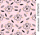 seamless hand drawn floral and... | Shutterstock .eps vector #578570470