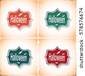 halloween. flat sticker with... | Shutterstock .eps vector #578576674