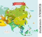 map of asia. | Shutterstock . vector #578580928