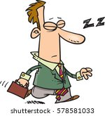 Cartoon Man Dozing On Way To...