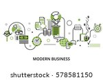 Modern editable line design vector illustration, concept of modern business process and finance success in greenery color, for graphic and web design | Shutterstock vector #578581150