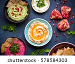 colorful hummus bowls.... | Shutterstock . vector #578584303