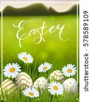 happy easter card with eggs ...   Shutterstock .eps vector #578589109