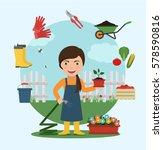 gardener watering flowers with... | Shutterstock .eps vector #578590816