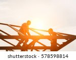group of builders at the top of ... | Shutterstock . vector #578598814