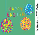 easter card with eggs and... | Shutterstock .eps vector #578599414