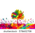 watercolor nature tree and... | Shutterstock .eps vector #578602708