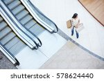 young shopper with bags... | Shutterstock . vector #578624440