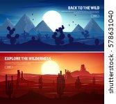 desert trip. extreme tourism... | Shutterstock .eps vector #578631040