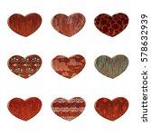 set vector cartoon wood heart...