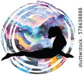 women silhouette on galaxy... | Shutterstock .eps vector #578638888