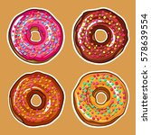 decorative hand drawn donuts... | Shutterstock .eps vector #578639554
