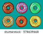 decorative hand drawn donuts... | Shutterstock .eps vector #578639668