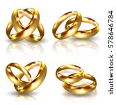 set of golden wedding rings... | Shutterstock .eps vector #578646784