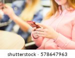 two girls are sitting in a cafe ... | Shutterstock . vector #578647963